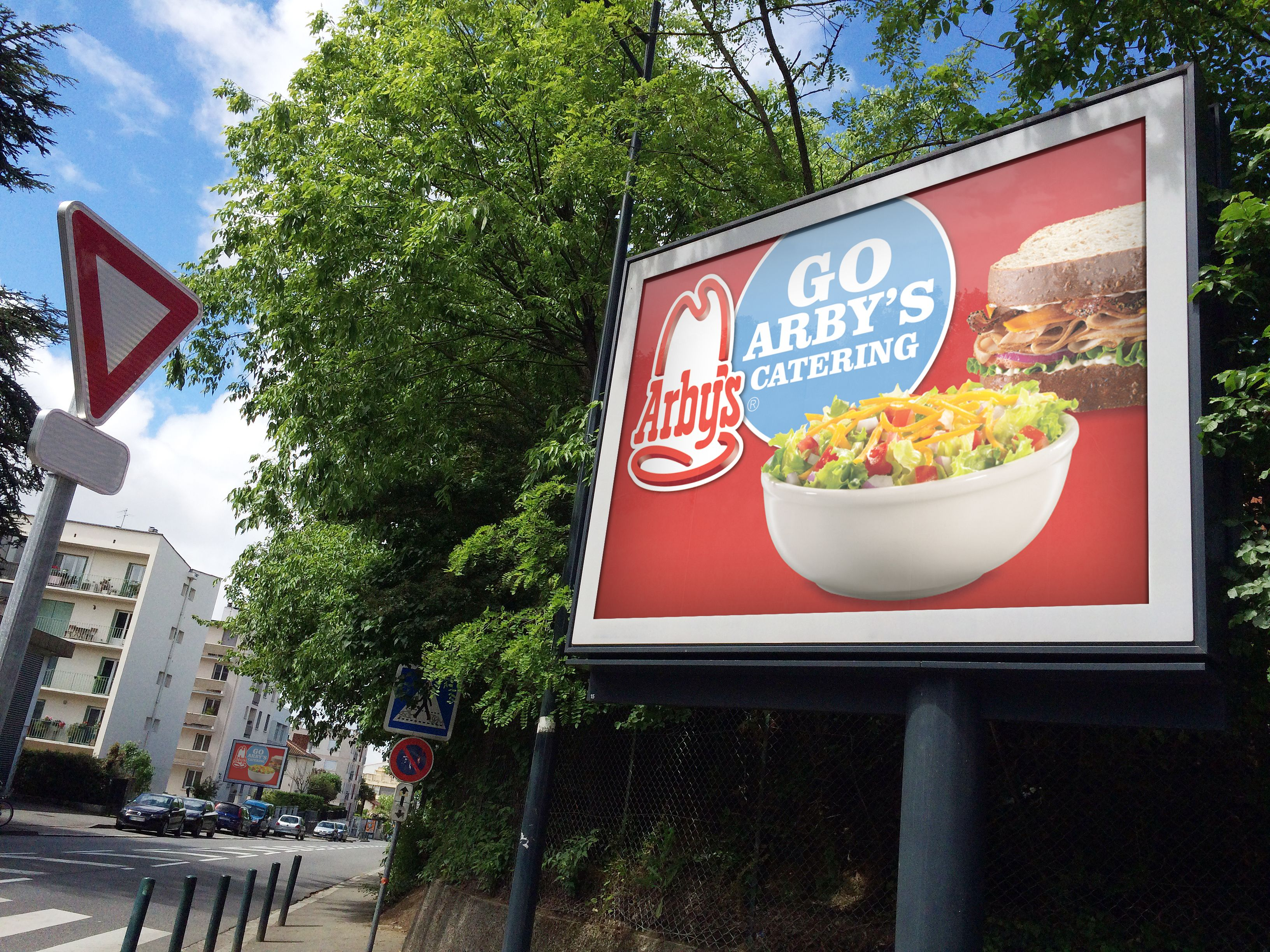 Sign with Arby's information in guerrilla marketing campaign