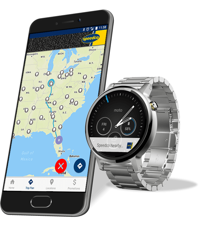 Mobile app display featuring an accompanying smart watch application