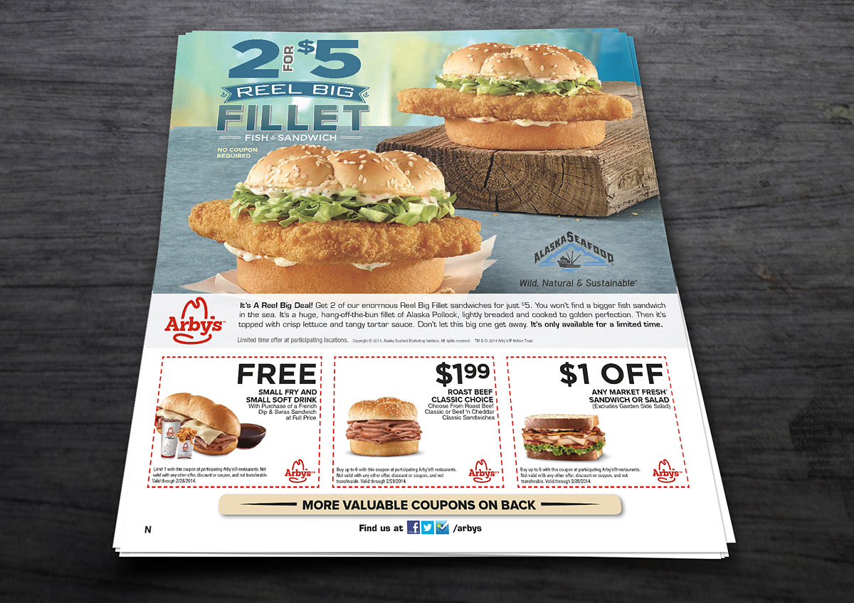 Food beverage arby 39 s print content fsi 2 burkhart marketing for Arby s fish sandwich 2017
