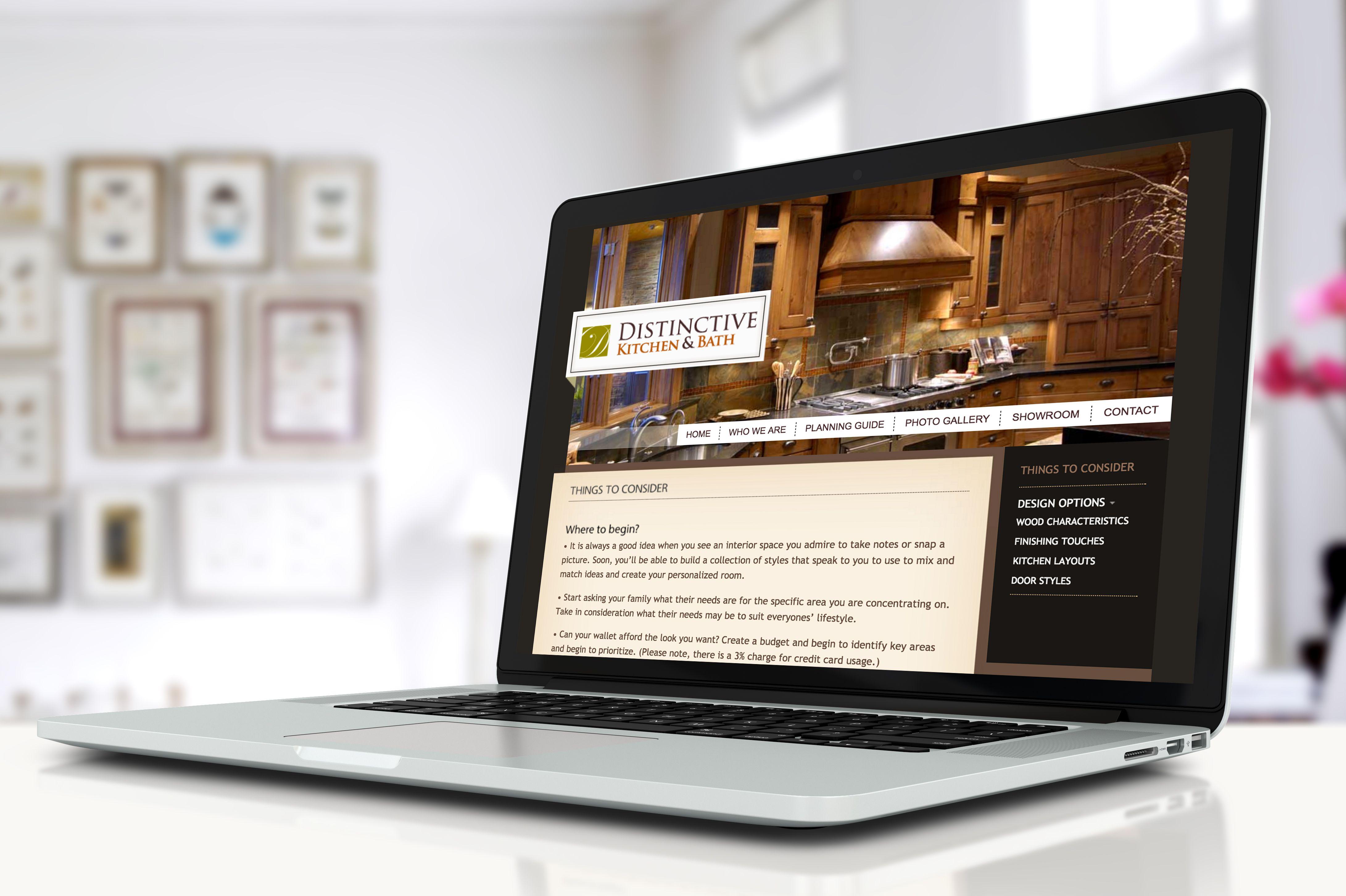 Distinctive Kitchen and Bath digital marketing on their website