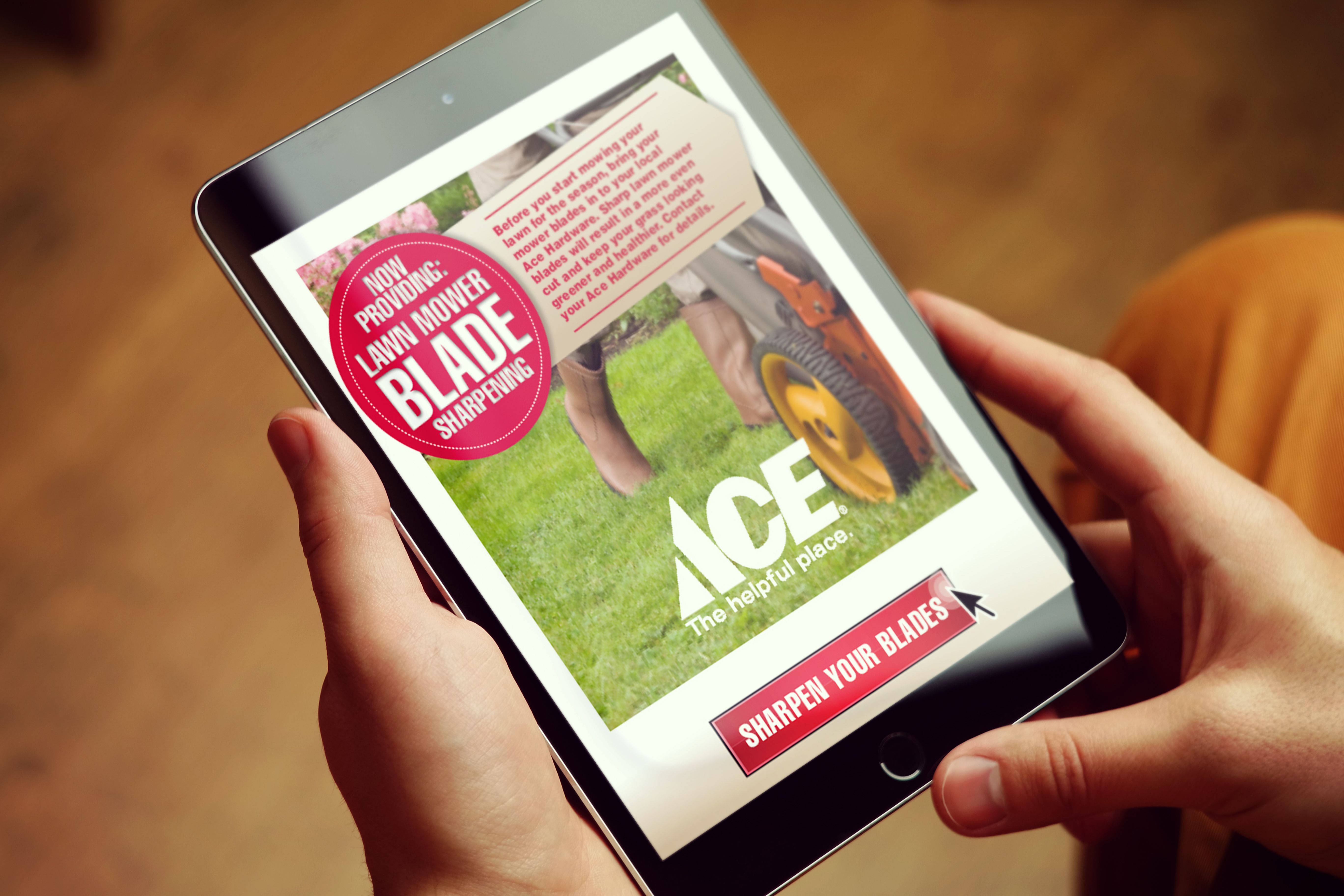 Ace Hardware using mobile marketing on a tablet