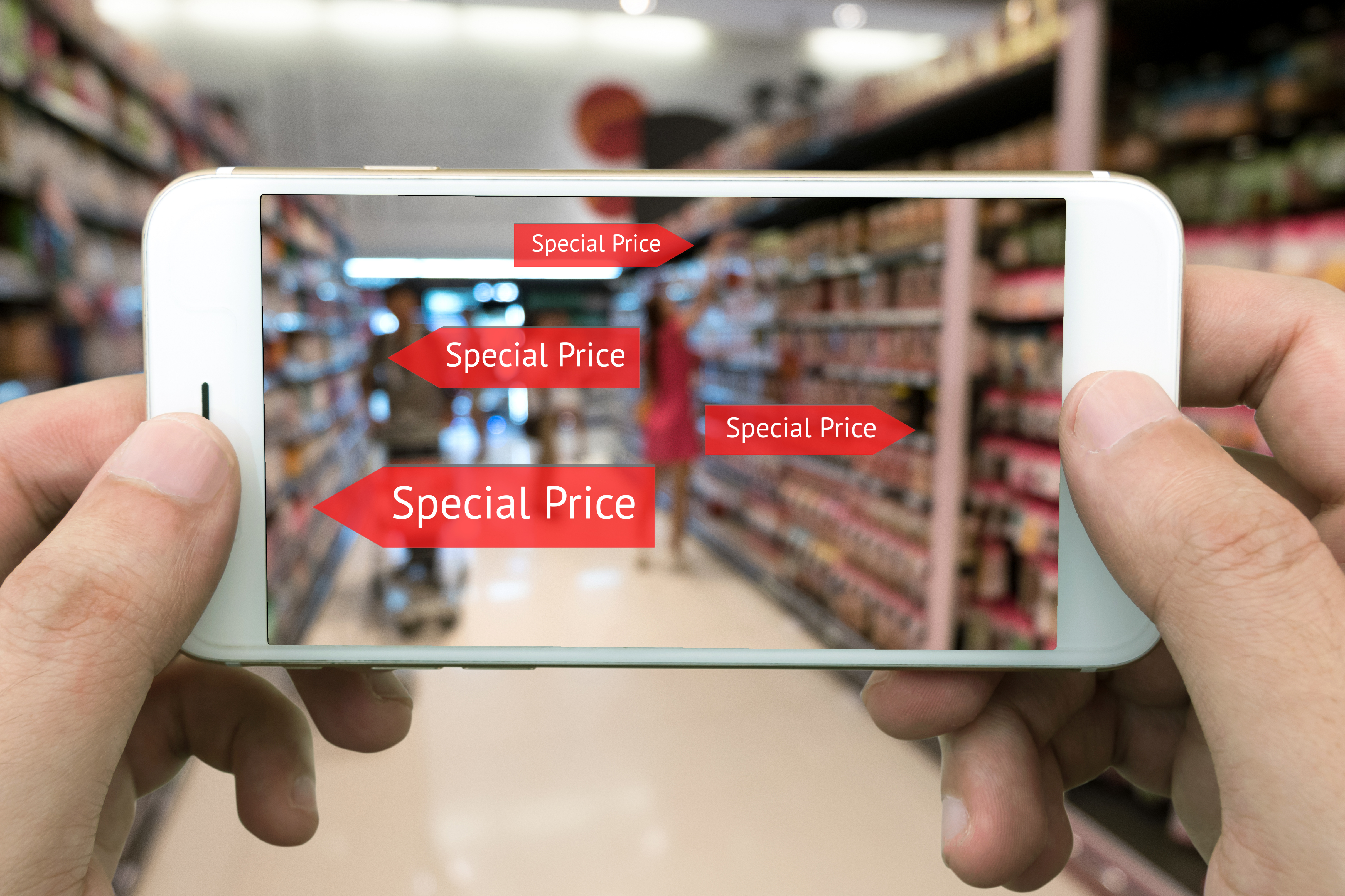 Customer using augmented reality while shopping in store.