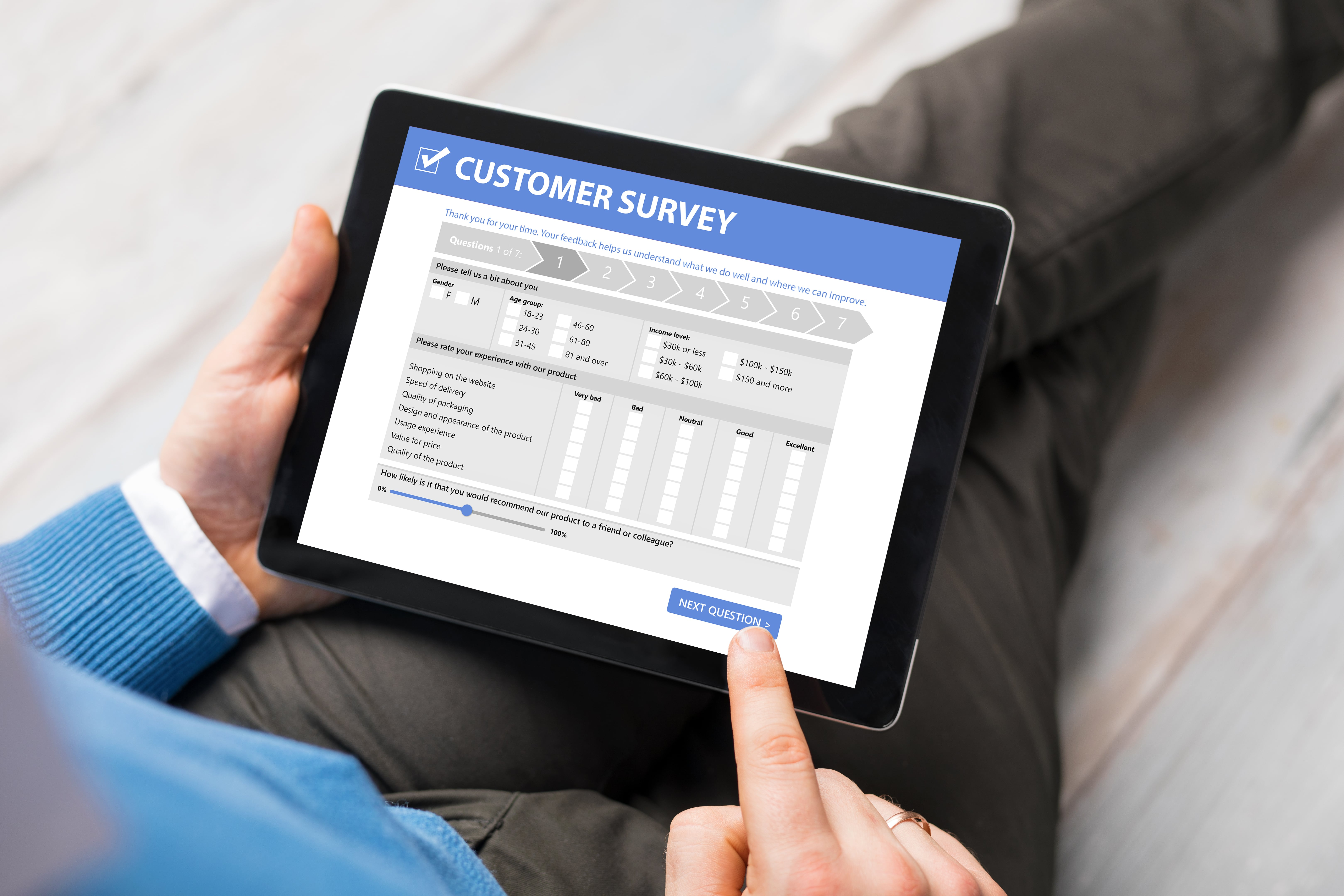 Customer taking survey to rate his customer experience.