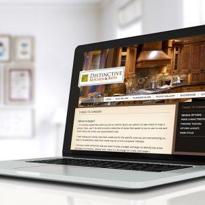 distinctive kitchen and bath website homepage
