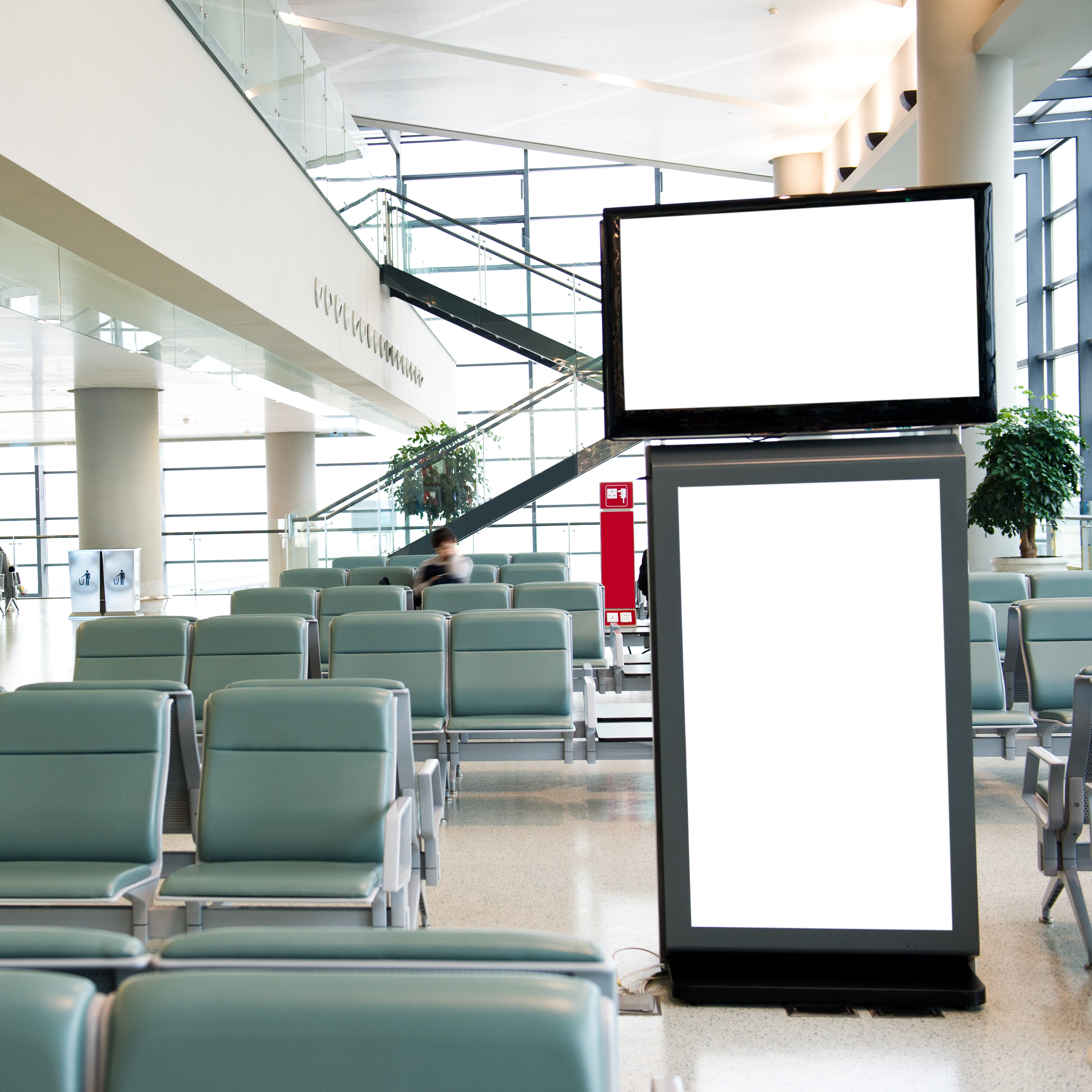 Digital signage display in waiting room lobby